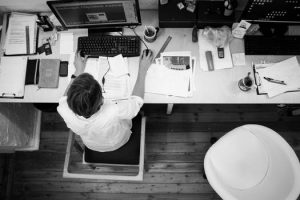 Woman busy at work